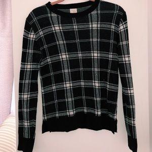 Checkered sweater.